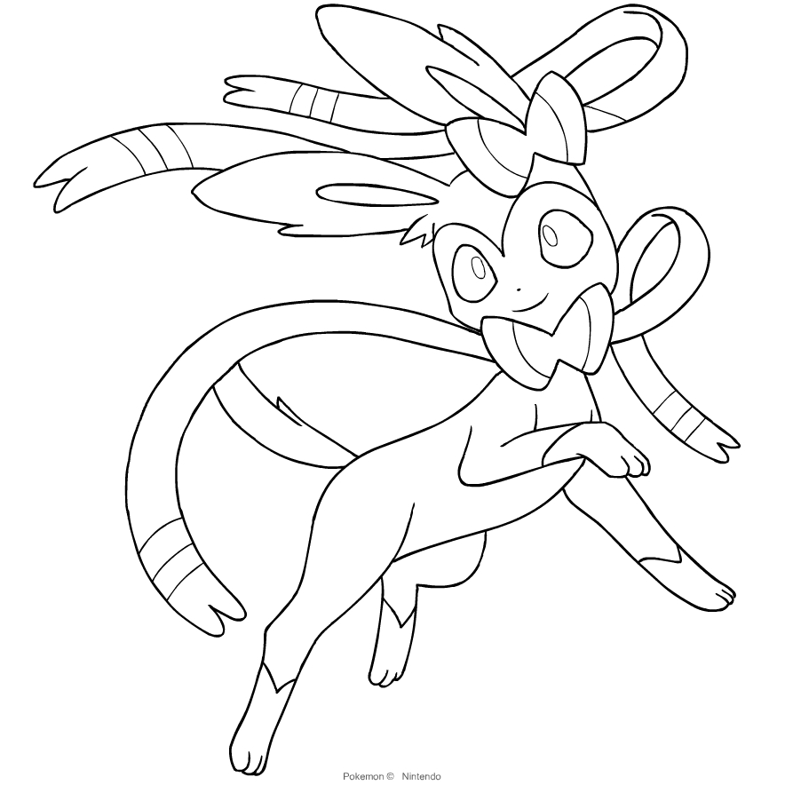 Sylveon From The Sixth Generation Of The Pokemon Coloring Page