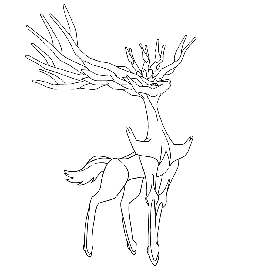 Coloriage De Xerneas Du Pokemon Sixieme Generation