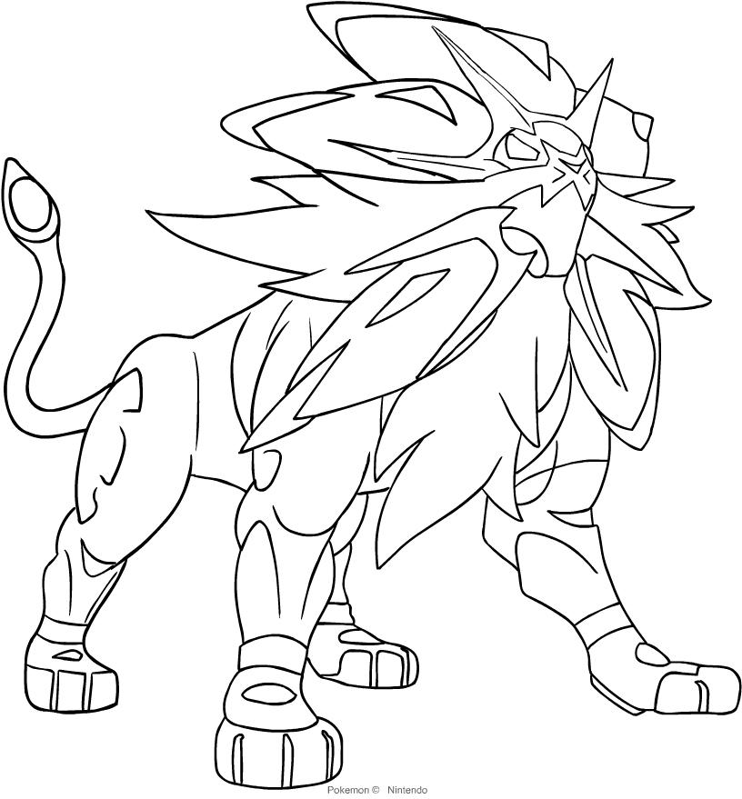 Desenho De Solgaleo Dos Pokemon Setima Geracao Para Colorir