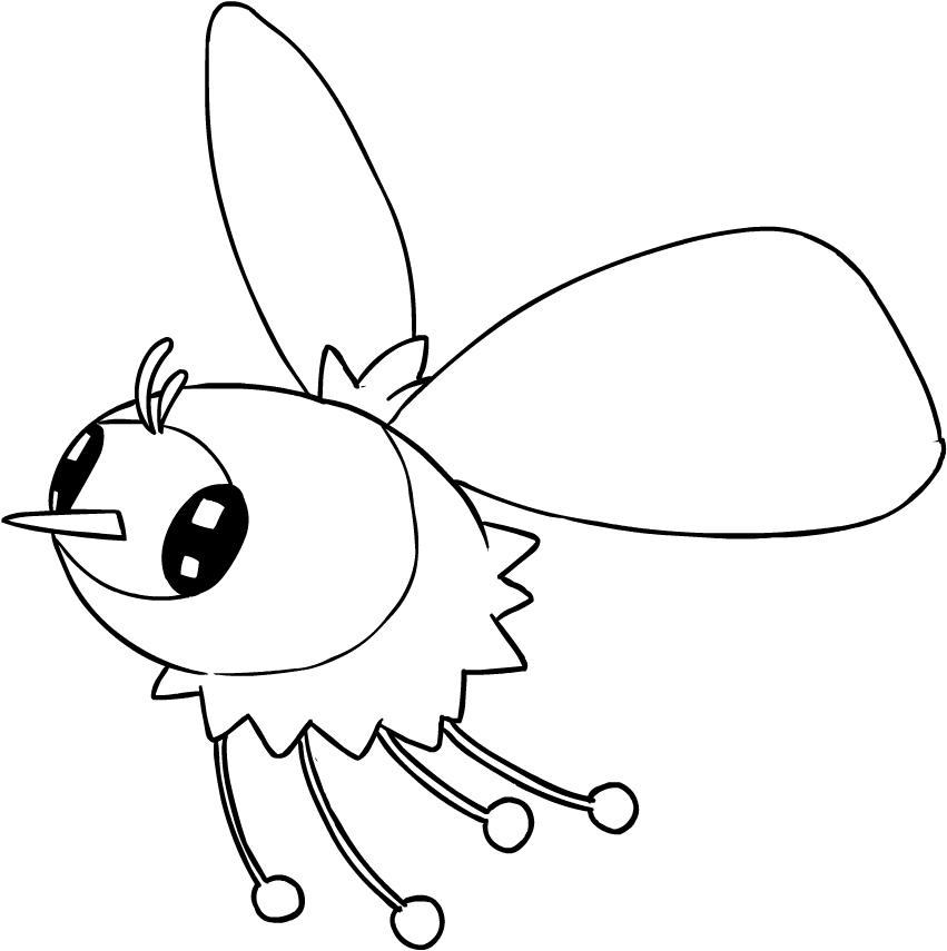 Disegno di cutiefly dei pokemon sole e luna da colorare for Immagini sole da colorare