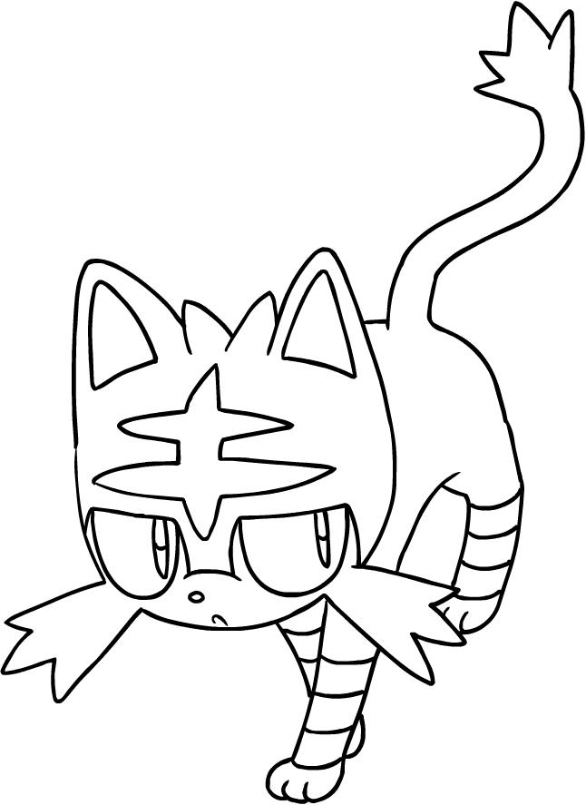 Disegno di litten dei pokemon sole e luna da colorare for Sole disegno da colorare