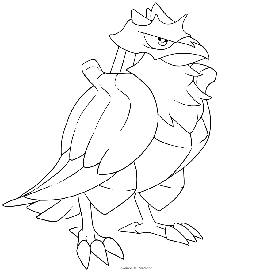 Corviknight from Pokémon Sword and Shield coloring page to print and coloring