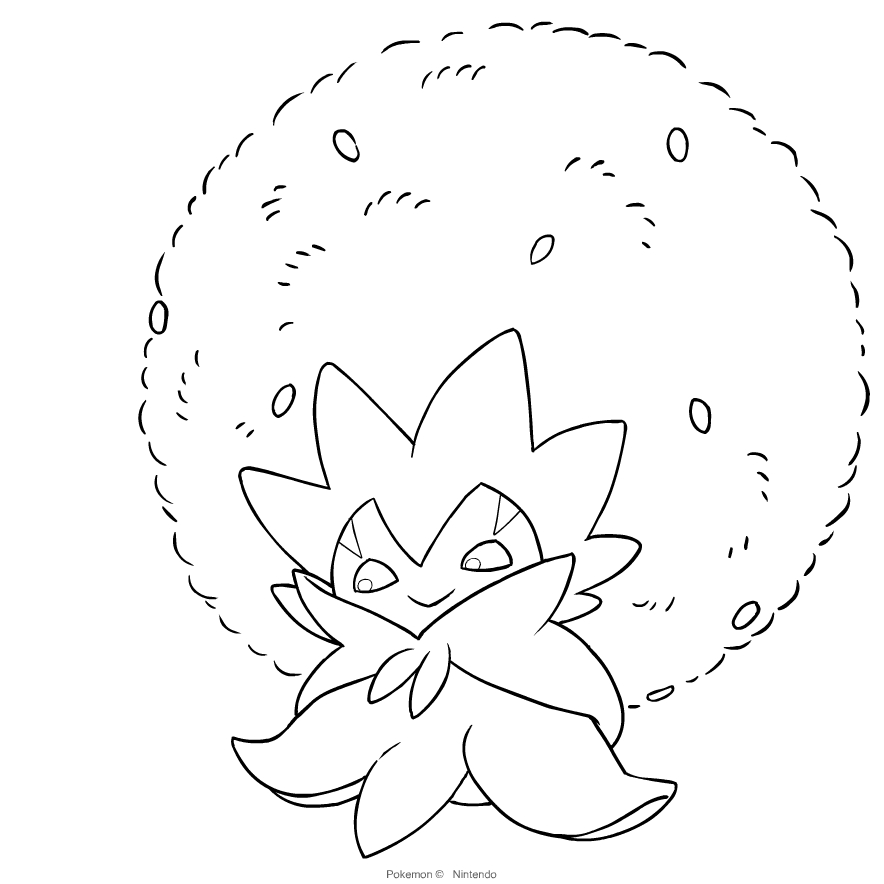 Eldegoss from Pokémon Sword and Shield coloring page to print and coloring