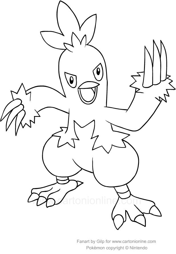 Disegno di combusken dei pokemon da colorare for Pokemon da stampare e colorare