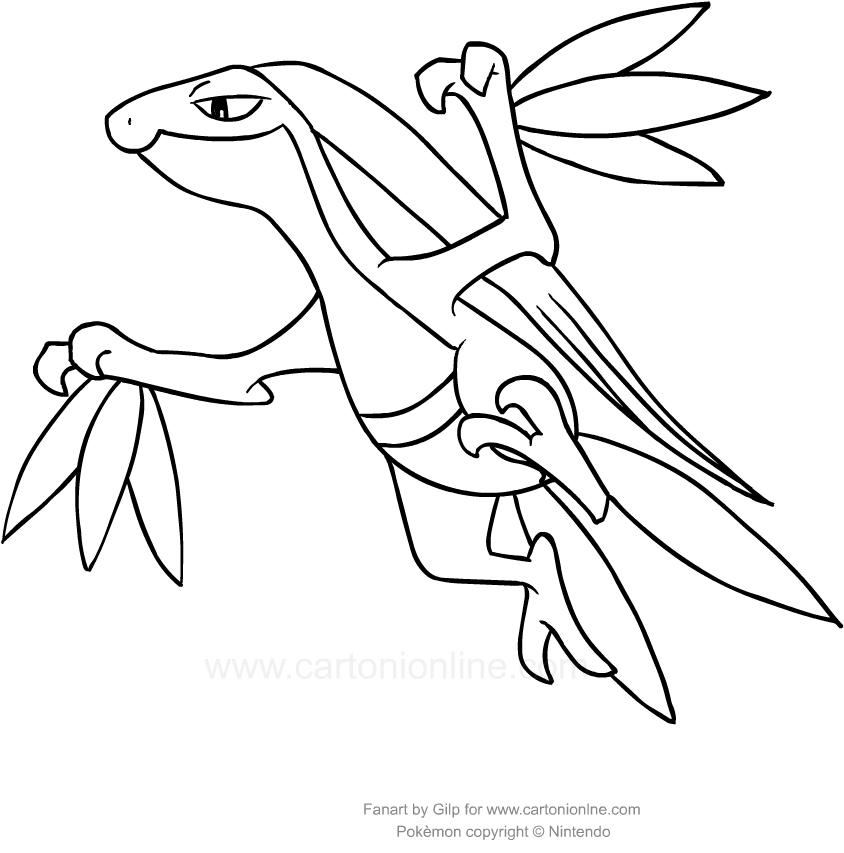 Disegno di grovyle dei pokemon da colorare for Treecko coloring pages