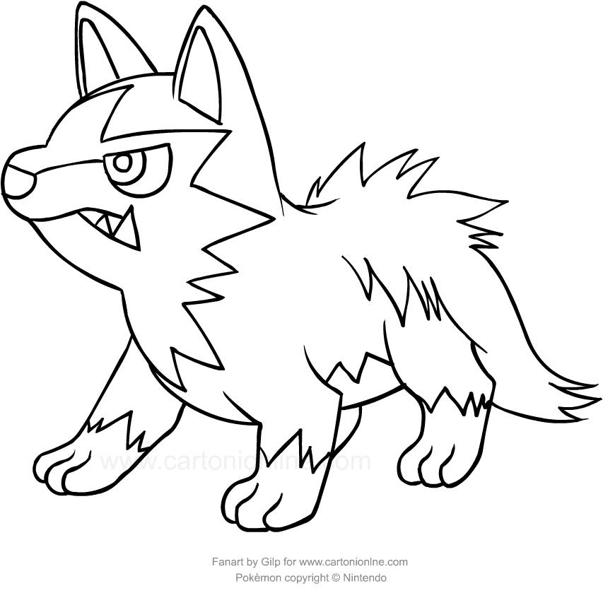 Disegno di poochyena dei pokemon da colorare for Pokemon da stampare e colorare