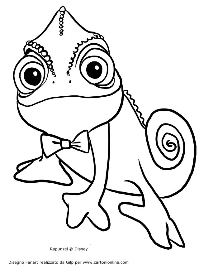Disegno di pascal sorridente da colorare for Disegni da colorare e stampare di rapunzel