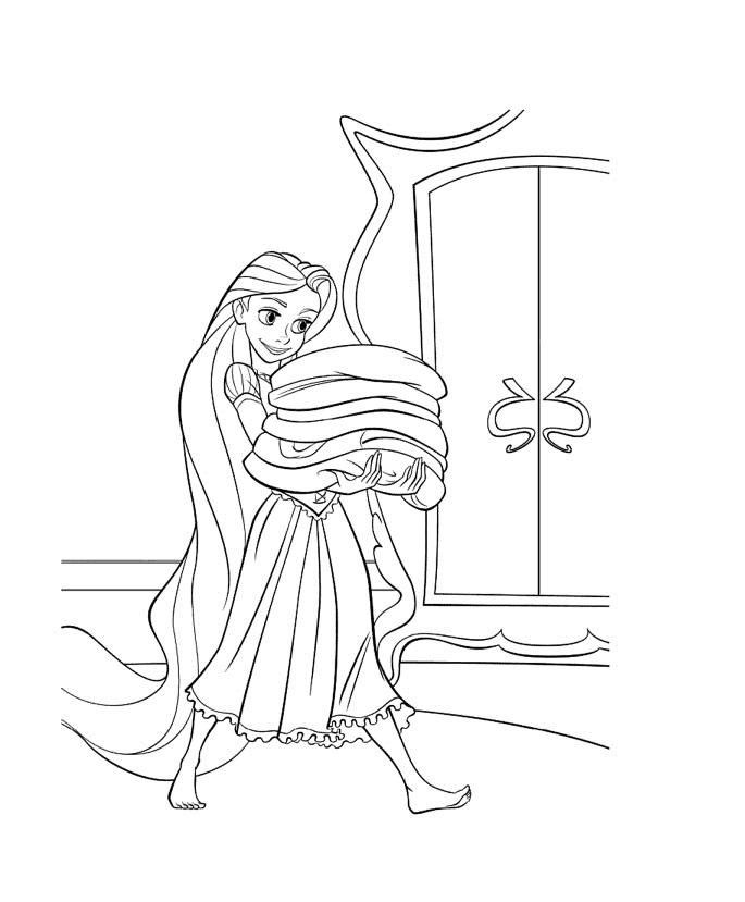 Disegno Di Rapunzel Che Depone I Vestiti Nell Armadio Da Colorare