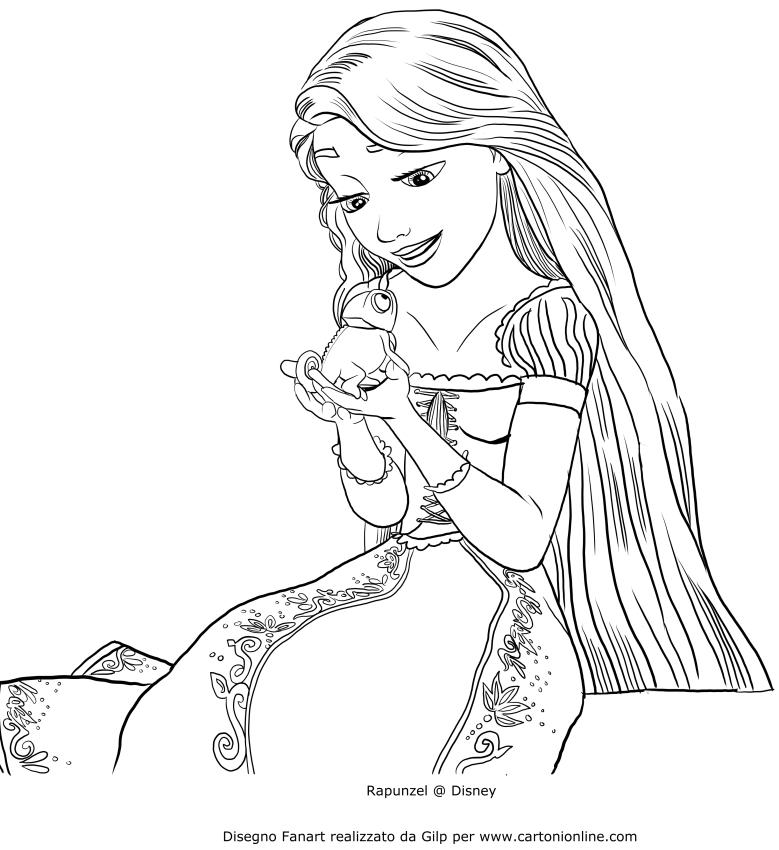 Disegno di rapunzel che parla con pascal da colorare for Immagini di rapunzel da colorare