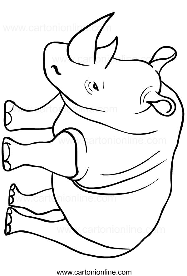 Disegno di rinoceronti da stampare e colorare