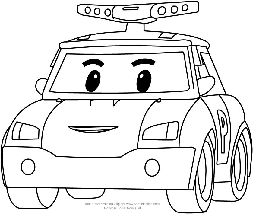 Disegno di poli in versione auto robocar da colorare