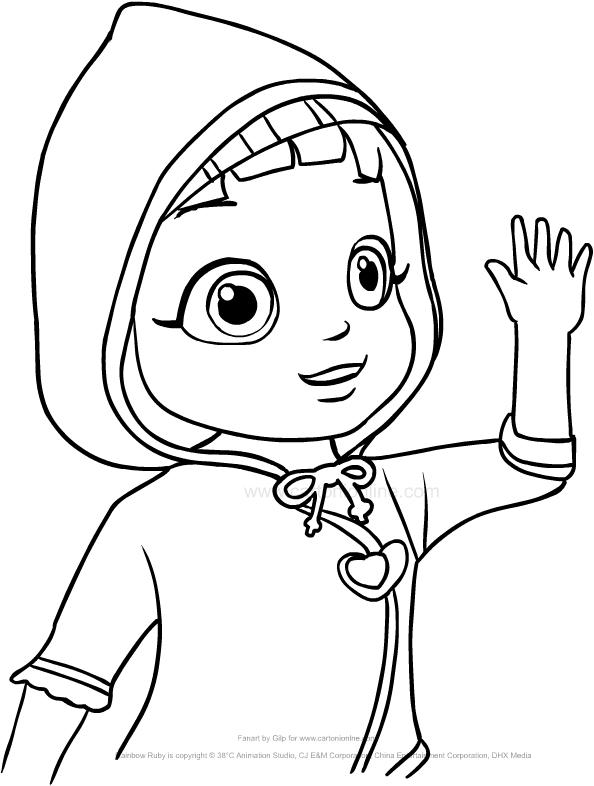 Disegno Di Ruby Arcobaleno Con Il Cappuccio Che Saluta Da Colorare