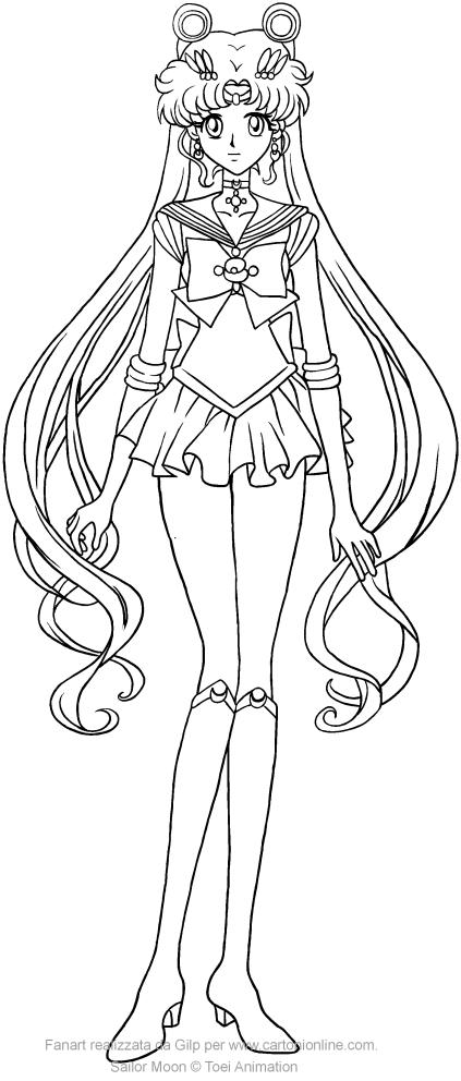 Coloriage de Sailor Moon Crystal à imprimer et colorier