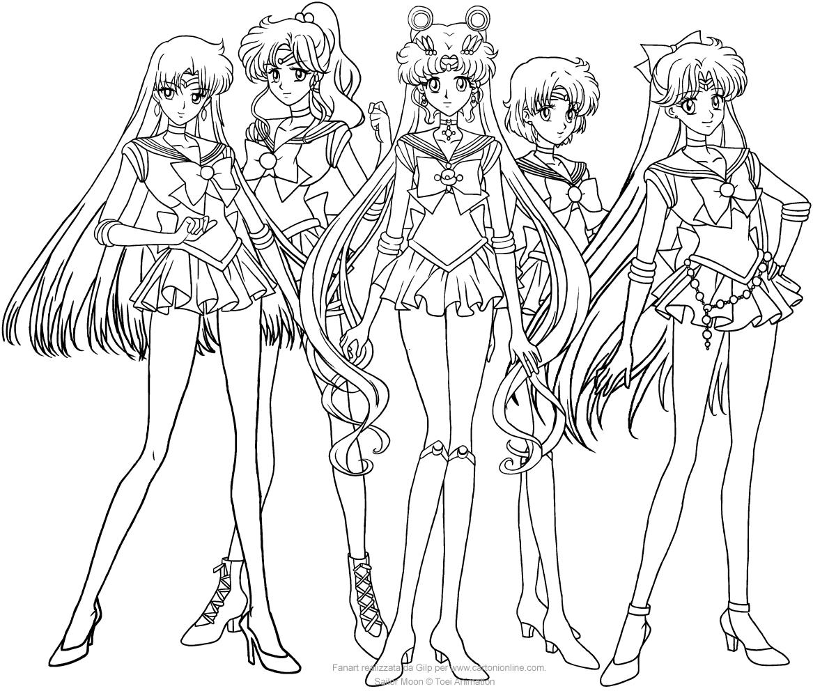 Disegno Di Sailor Moon Crystal In Gruppo Da Colorare