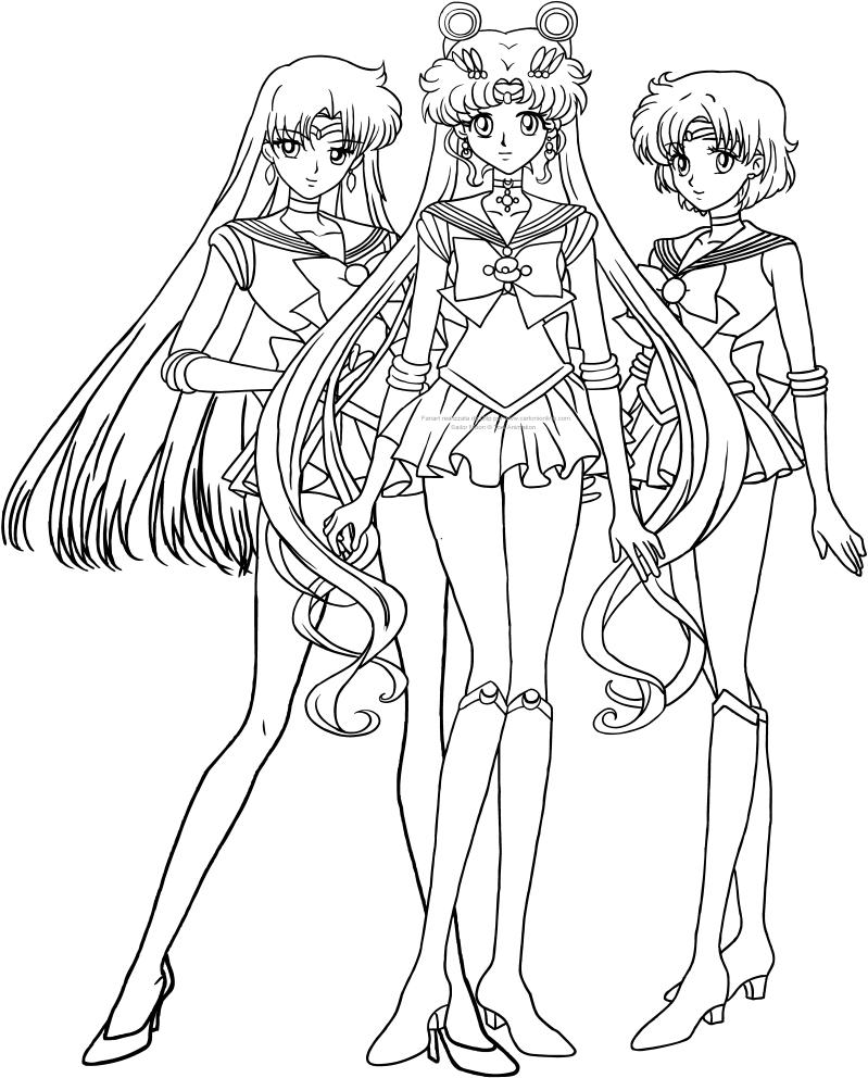 Dibujo de Sailor, Moon, Mars y Mercury Crystal para imprimir y pintar