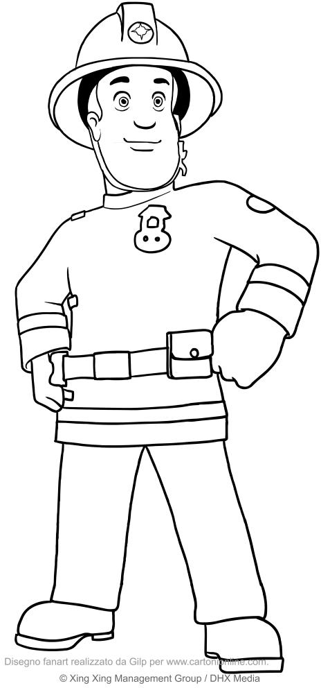 Pompiere Sam Da Colorare.Disegno Di Sam Il Pompiere Da Colorare