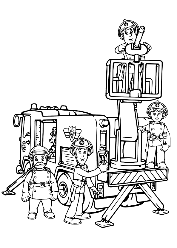 Drawing 2 from Fireman Sam coloring page to print and coloring