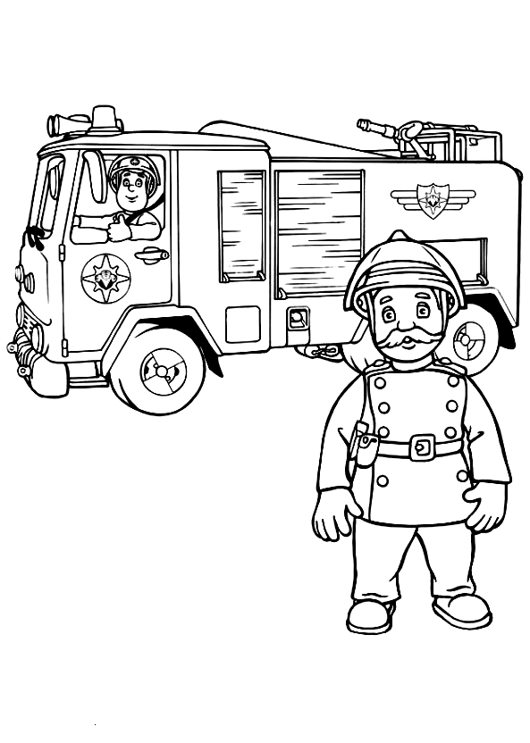 Drawing 9 from Fireman Sam coloring page to print and coloring