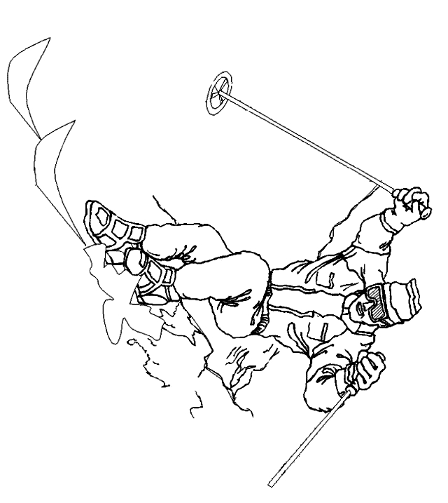 Esquí para imprimir y colorear - Dibujo 22