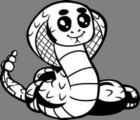 Página para colorear de una serpiente de estilo de dibujos animados