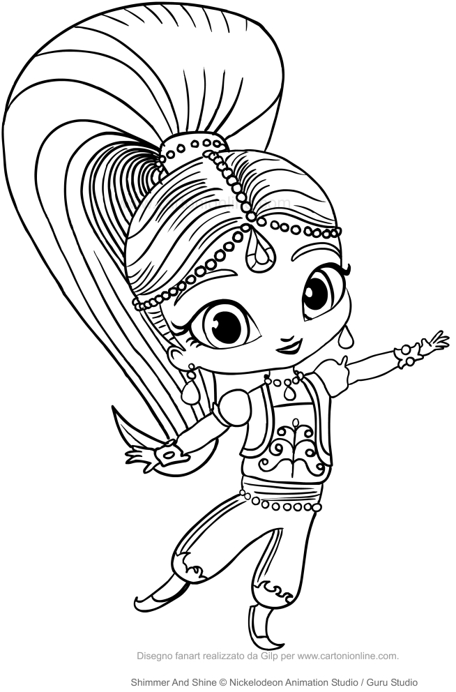 Disegno di shimmer da colorare for Shimmer and shine da colorare