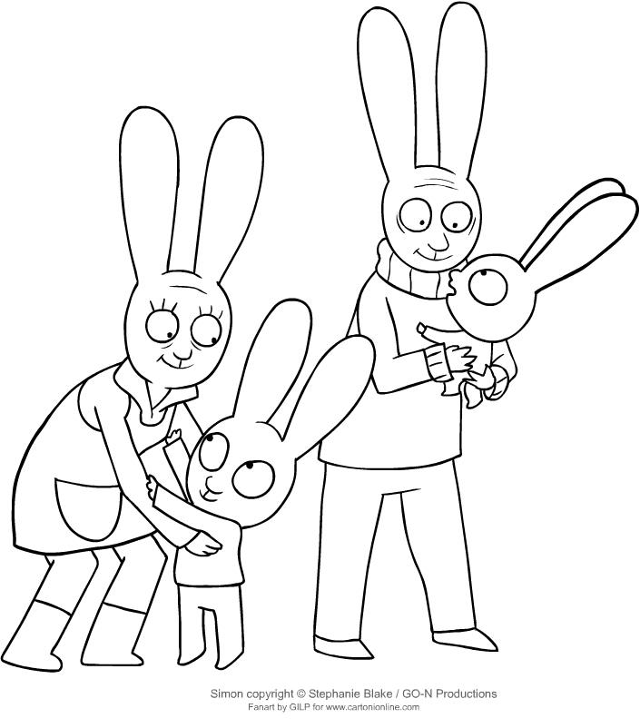Disegno di Simone e Gaspare con i nonni da stampare e colorare