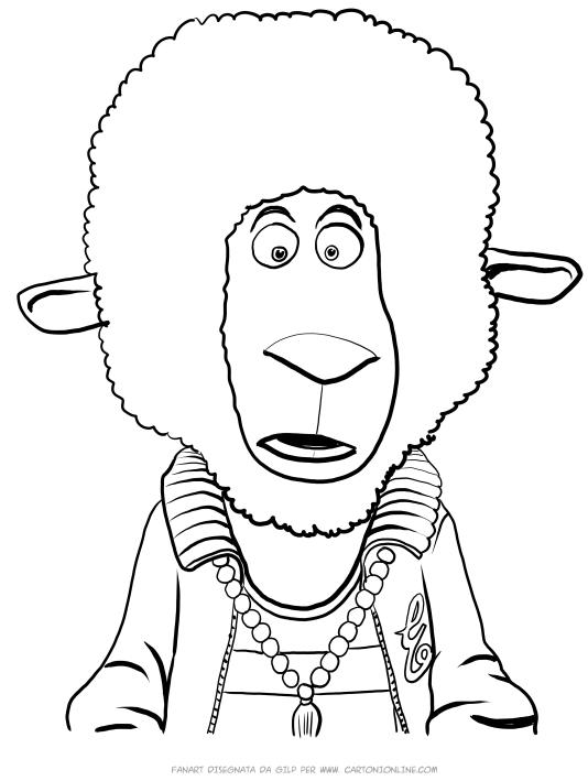 Disegno di Eddie Noodleman la pecora di Sing da stampare e colorare
