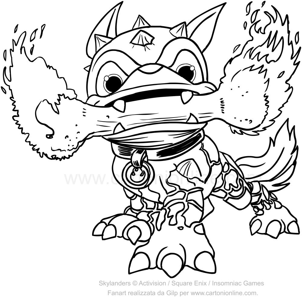 Disegni Da Colorare Sul Computer Di Skylanders.Disegno Di Skylanders Fire Bone Hot Dog Da Colorare