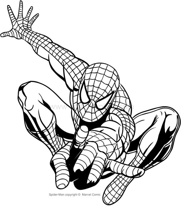 Disegno Di Spider Man Che Spara Le Ragnatele Da Colorare