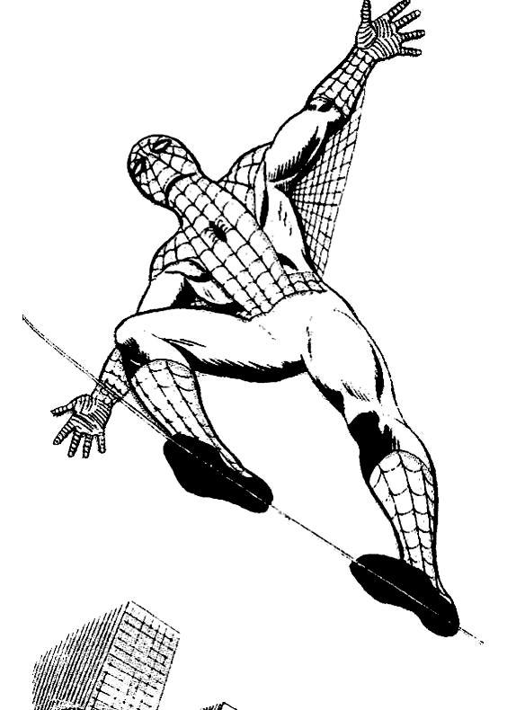 Disegno di spiderman equilibrista che cammina sul filo for Disegni da colorare di spiderman