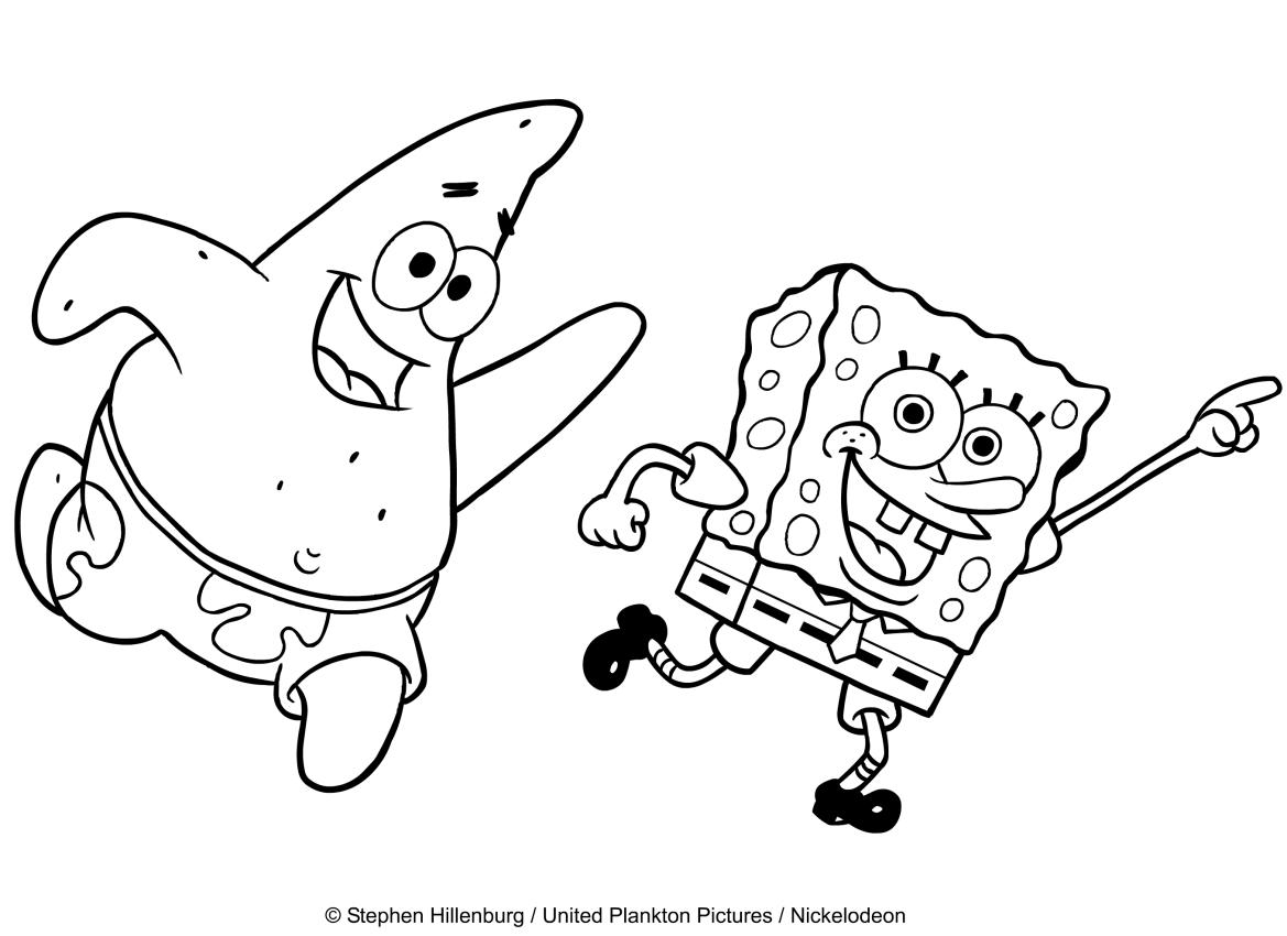 Disegno di Spongebob che balla con Patrick da stampare e colorare