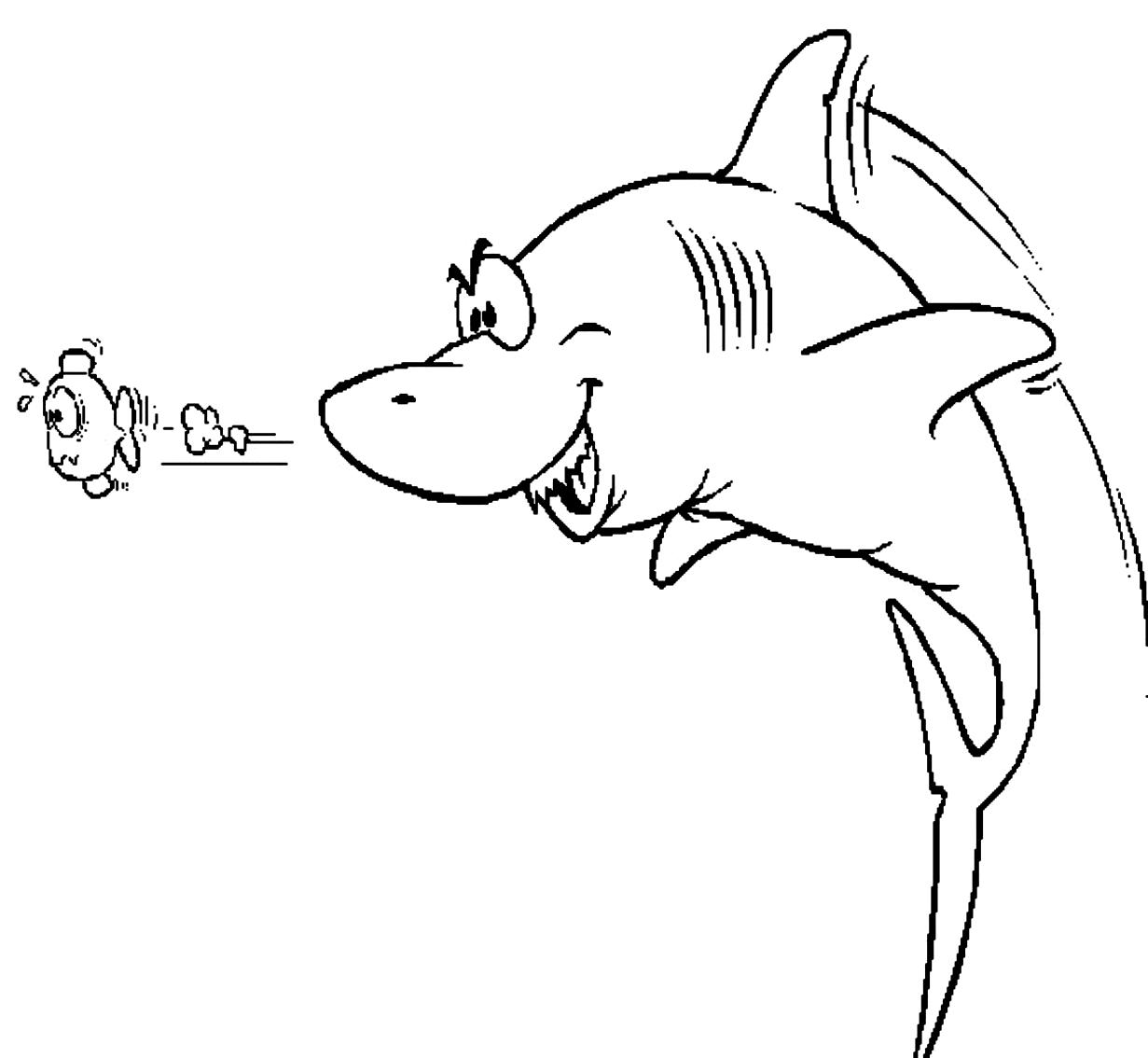 Disegno 8 di squali da stampare e colorare