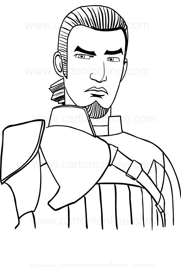 Dibujo de Kanan Jarrus de Star Wars Rebels para imprimir y colorear
