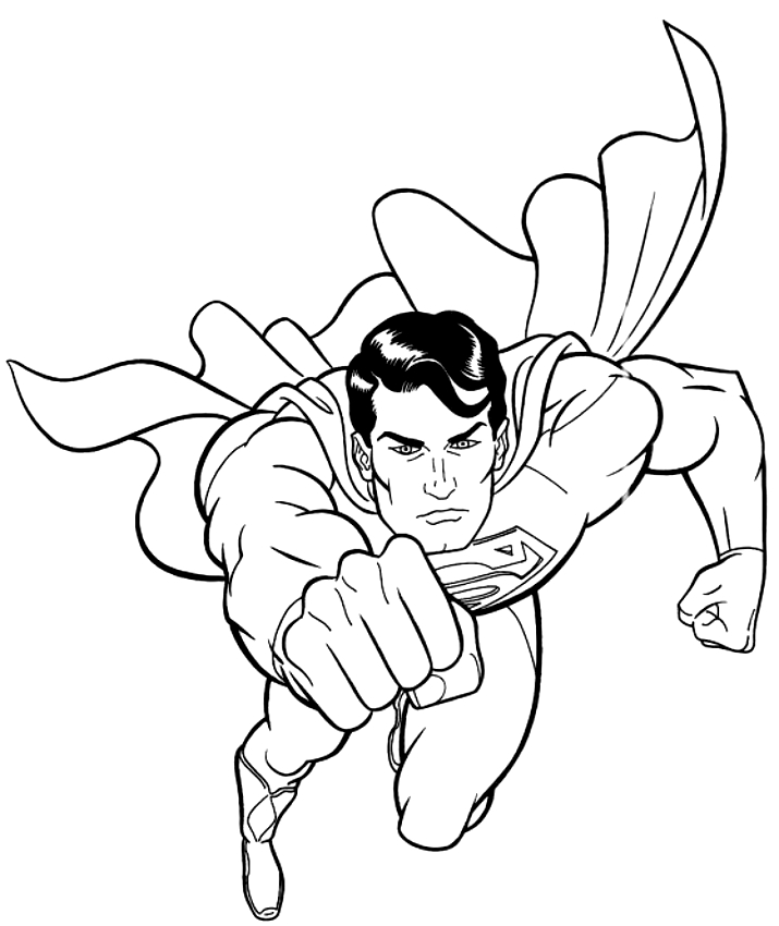 Disegno Di Superman In Azione Da Colorare