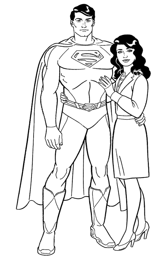Dessin de Superman et Lois Lane à imprimer et colorier