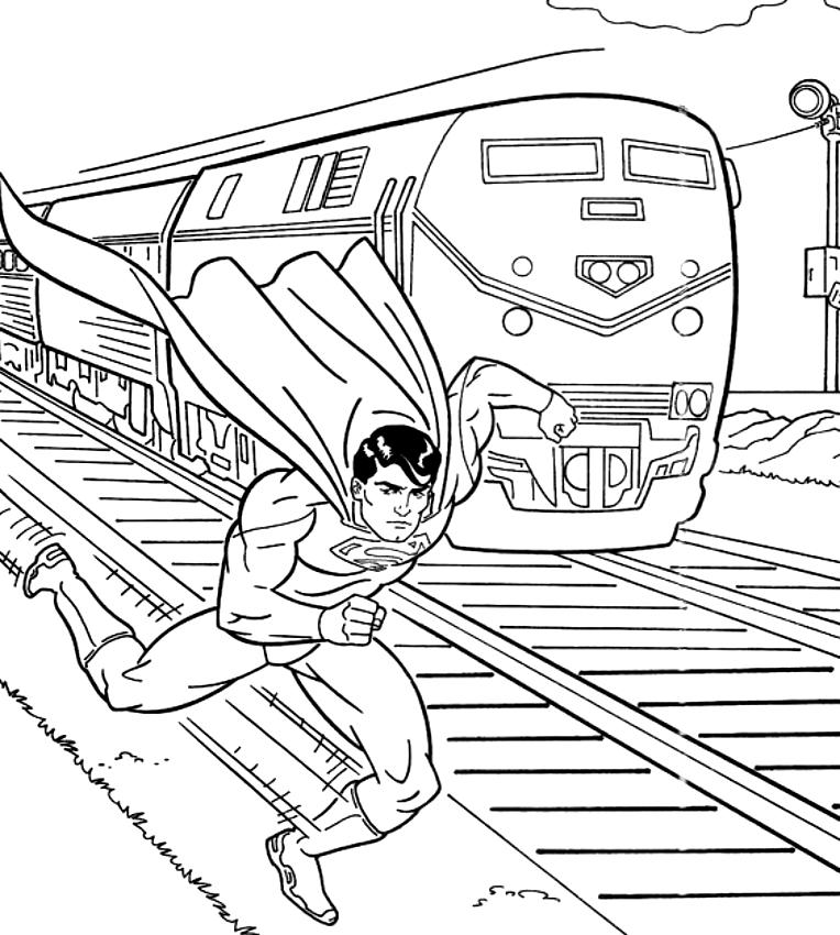 Disegno Di Superman Più Veloce Del Treno Da Colorare