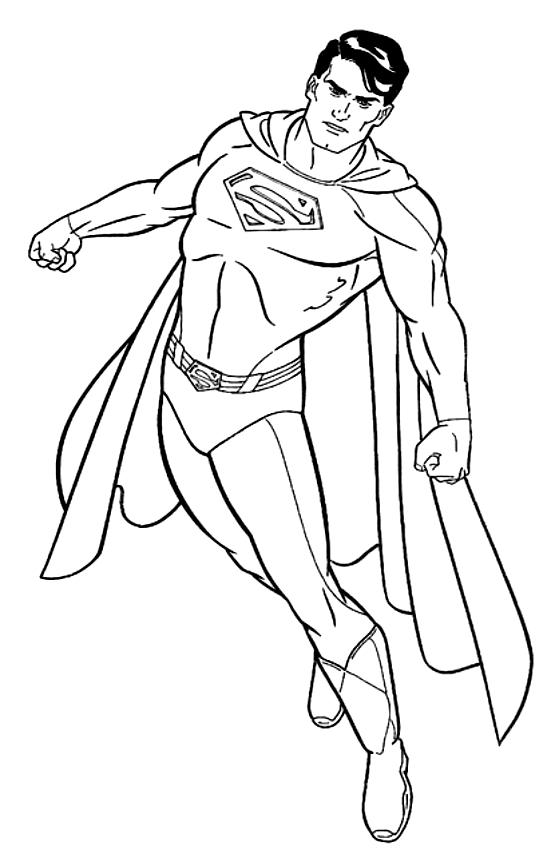 Superman se prépare à l'action pour imprimer et colorier