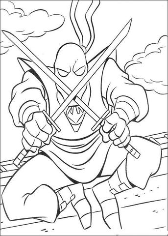 Disegno De Il Clan Del Piede Delle Tartarughe Ninja Da Colorare