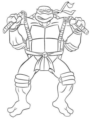 Disegni Tartarughe Ninja Da Colorare On Line.Disegno Di Michaelangelo Delle Tartarughe Ninja Da Colorare