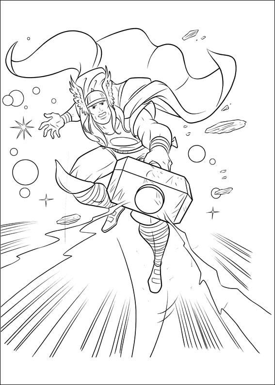 Coloriage de Thor dans l'espace pour imprimer et colorier
