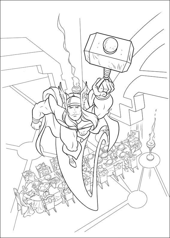 Coloriage de Thor en vol à imprimer et colorier