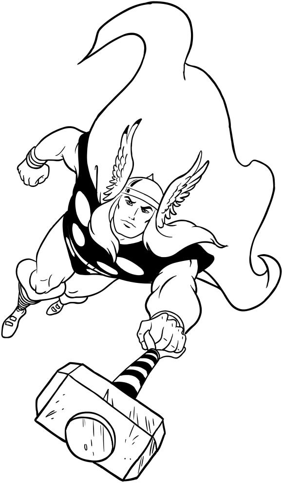 Coloriage de Thor à imprimer et colorier