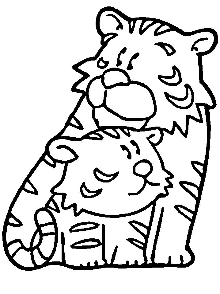 Disegno 5 di tigri da stampare e colorare