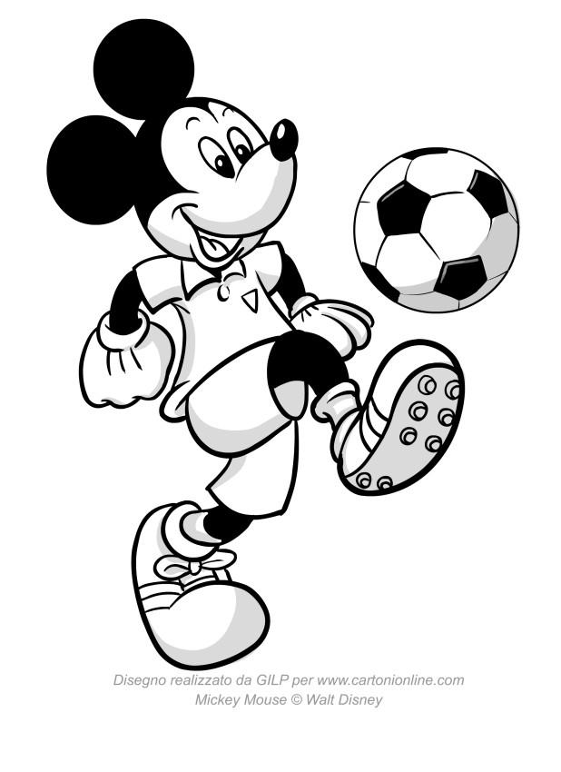 Disegno di topolino che palleggia con un pallone da calcio - Pagina da colorare di un pallone da calcio ...