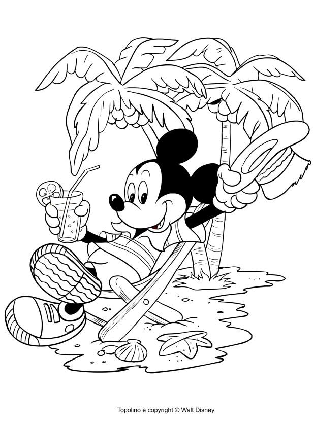 Disegno di topolino in vacanza da colorare - Immagini da colorare la spiaggia ...