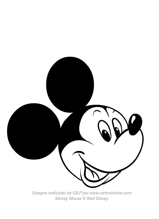 Disegno di topolino che sorride da colorare for Disegni di casa da stampare