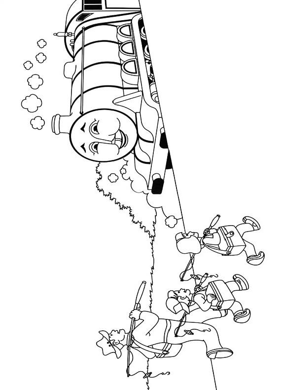 Dibujo del trenecito Henry que se encuentra con el padre y los niños pescadores para imprimir y colorear
