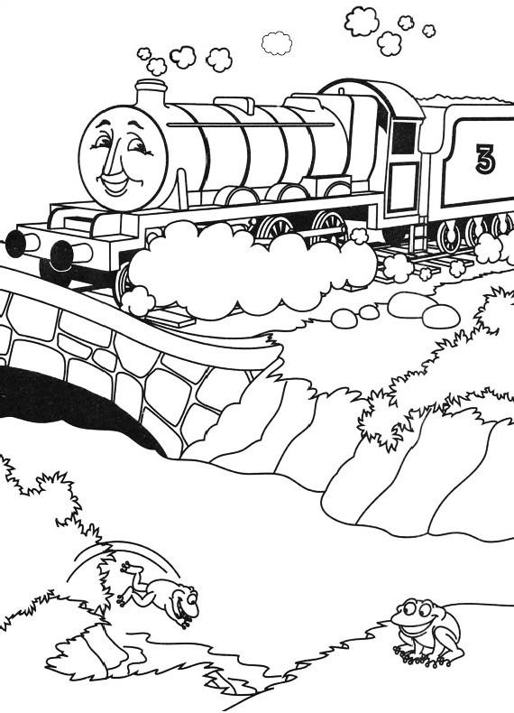 Dibujo del tren Henry cruzando el puente para imprimir y colorear