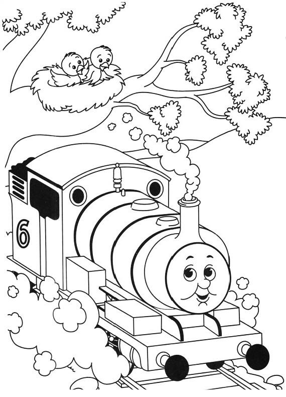 Dibujo del tren de Percy en el bosque para imprimir y colorear