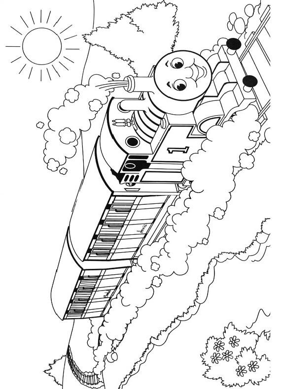 Dibujo del Tren Thomas viajando por las vías para imprimir y colorear